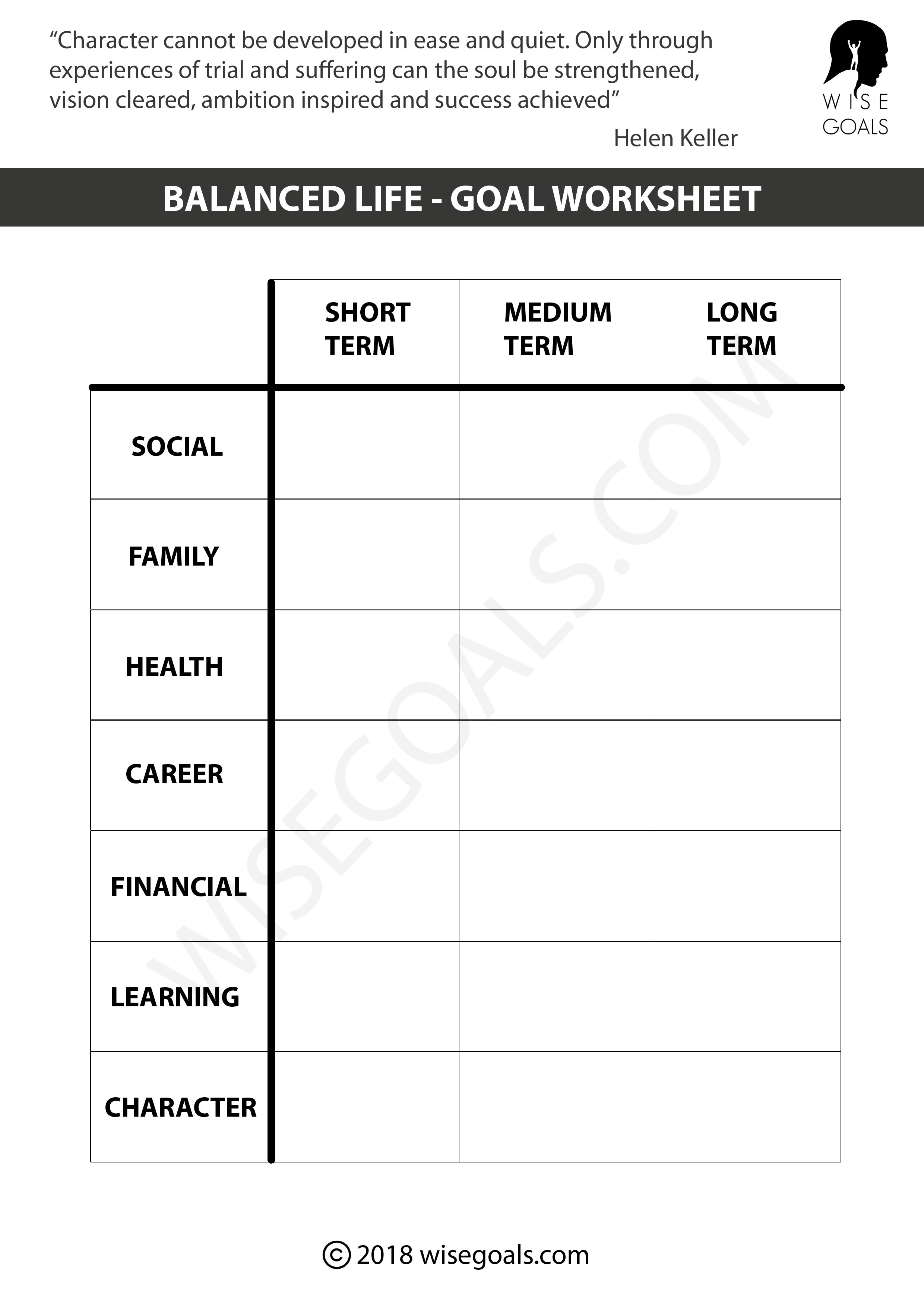 Worksheets Short And Long Term Goals Worksheet 5 personal goal setting worksheets printable pdf long medium and short term goals in each area