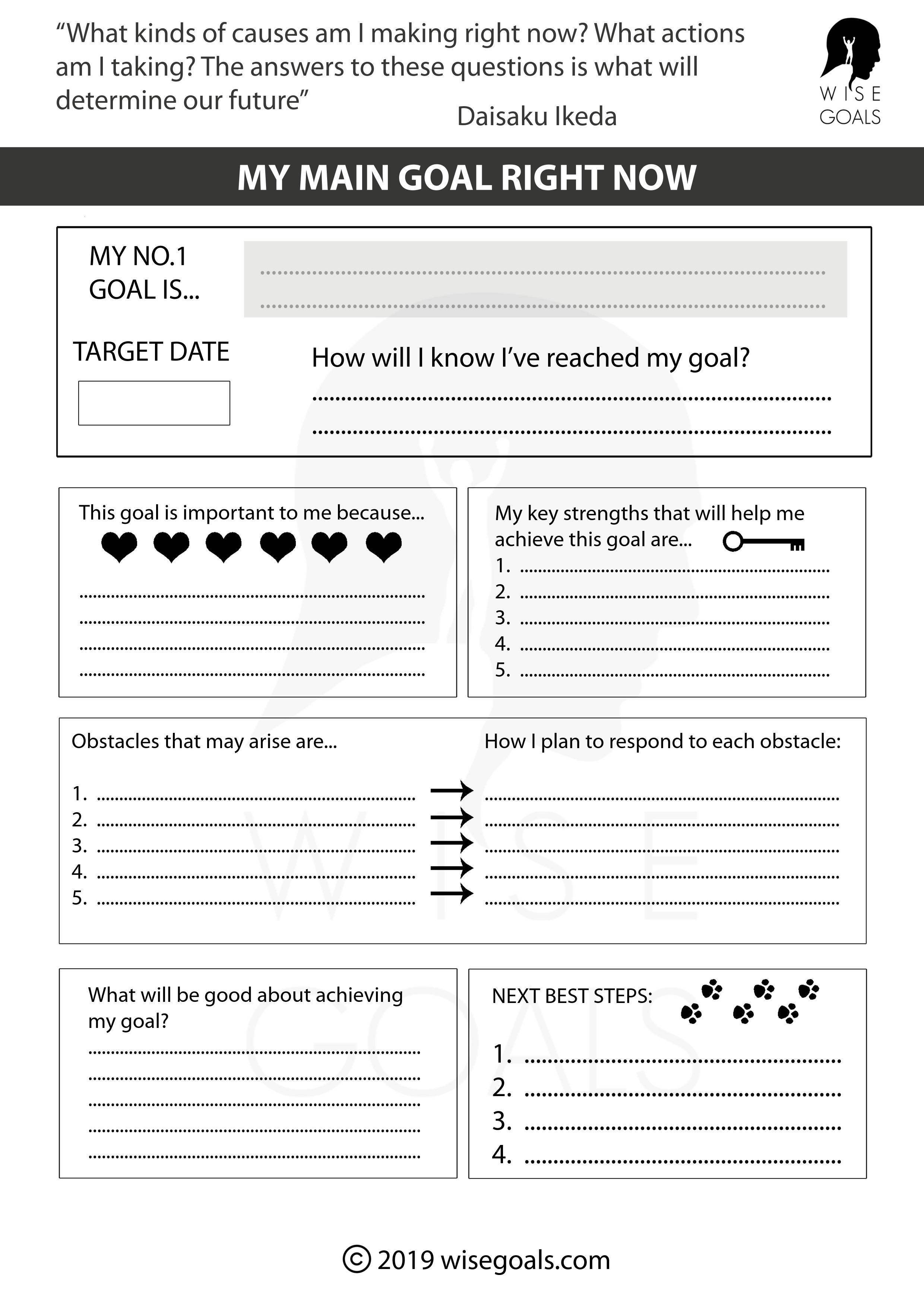Main goal now worksheet
