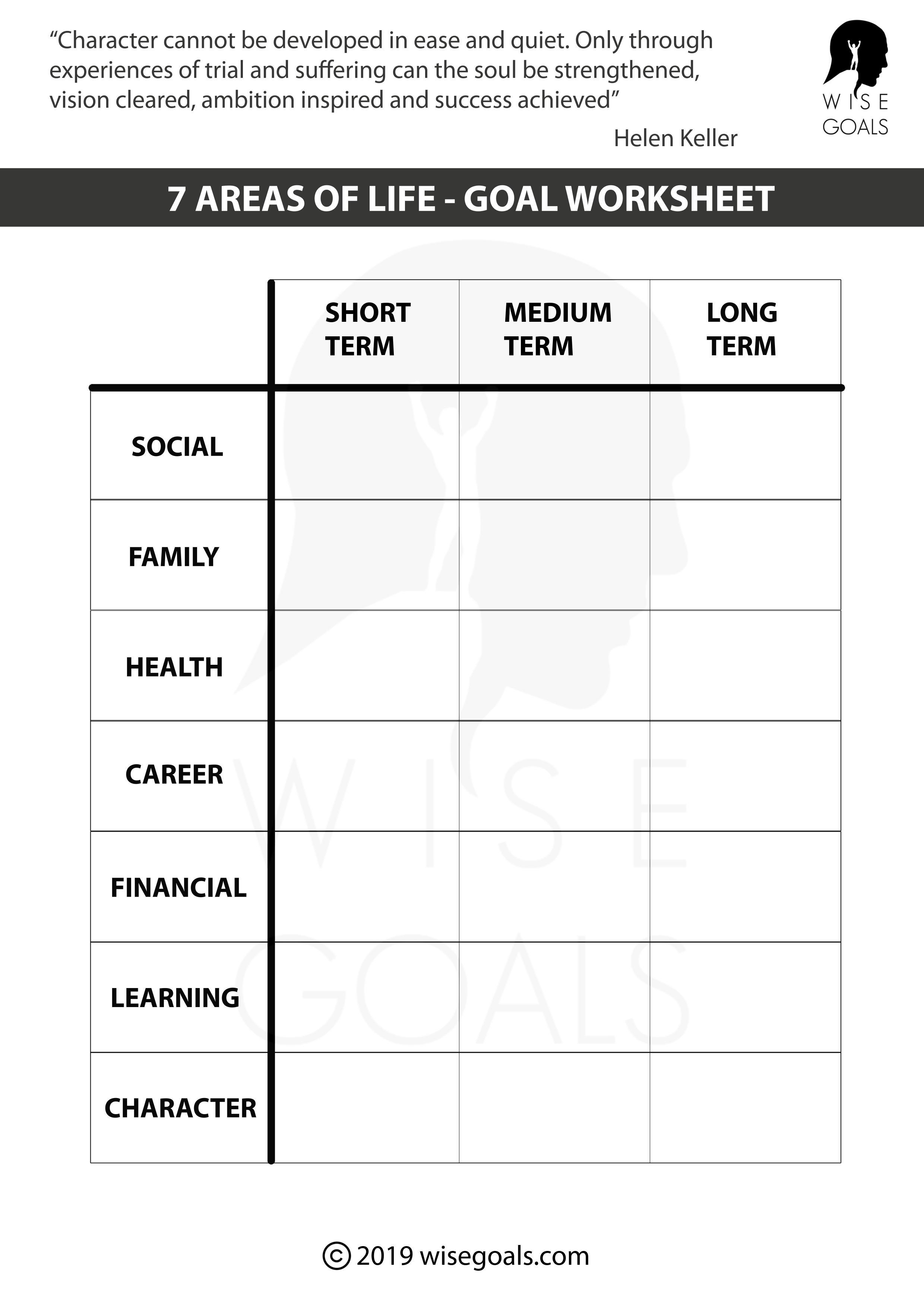 Stylish Goal Setting Worksheets To Print Pdf Free
