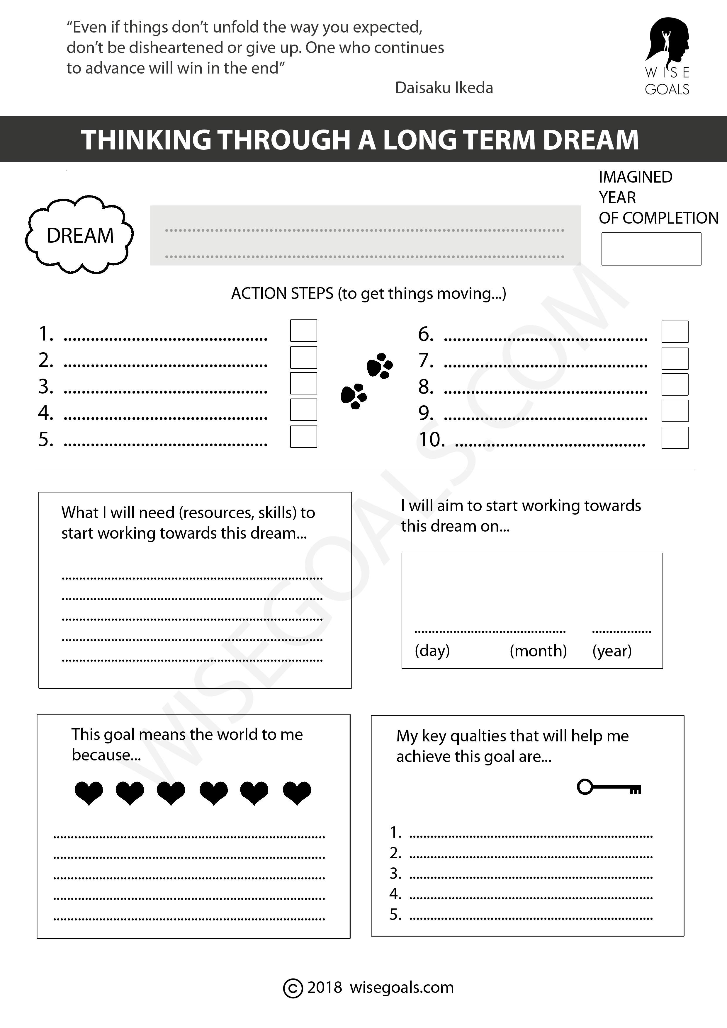 6 stylish goal setting worksheets to print pdf. Black Bedroom Furniture Sets. Home Design Ideas