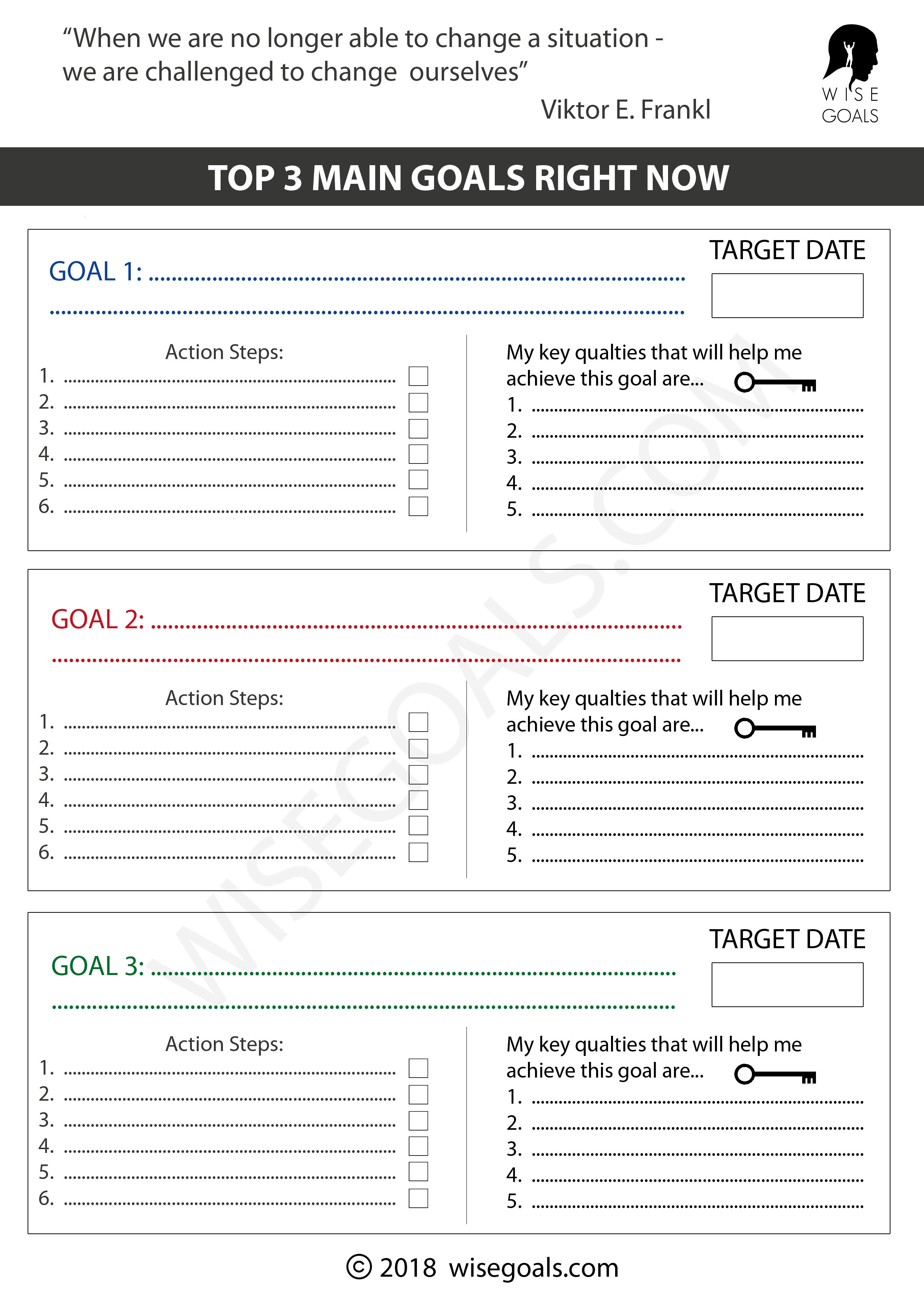 6 Different Goal Setting Templates 1 Your Top 3 Goals 2 Thinking Through Biggest Dream Flower Design Card 4 Credit Sized Daily