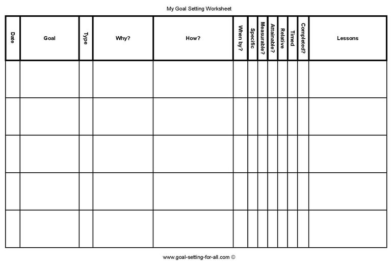 Goal Setting Spreadsheet