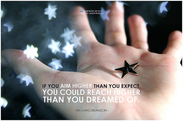 Richard Branson quote about aiming high