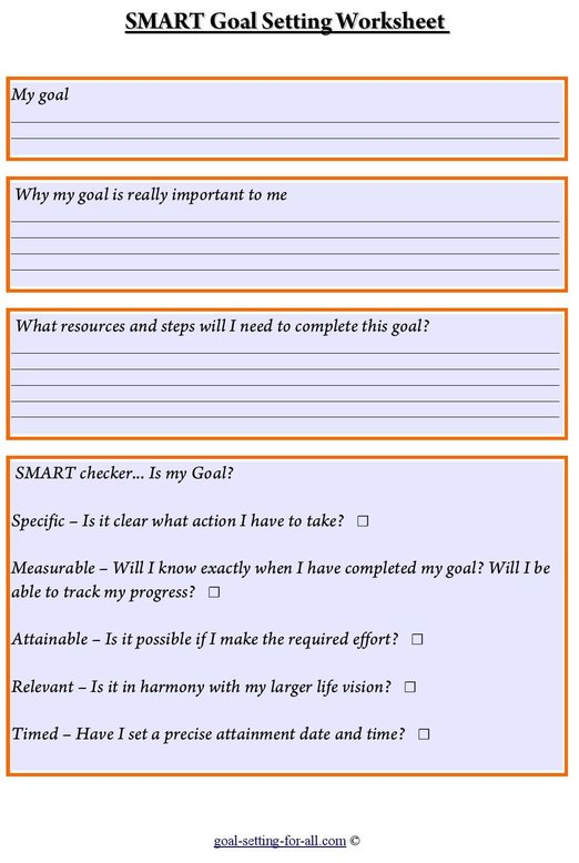 Free smart goal setting worksheet to download
